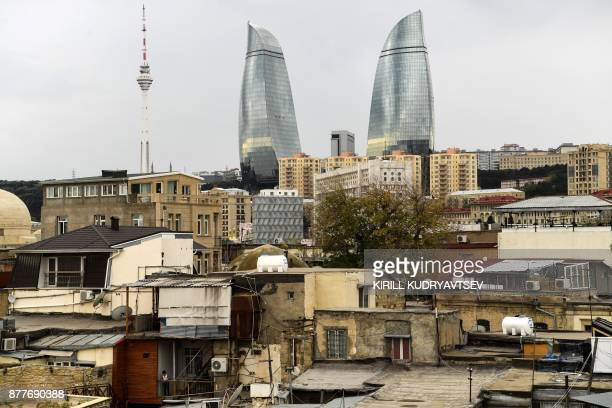 The Flame Towers are seen from the Old city in downtown Baku on November 23 2017 / AFP PHOTO / Kirill KUDRYAVTSEV
