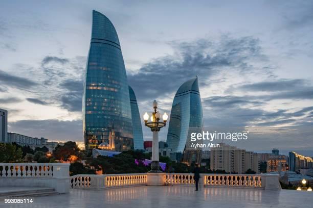 The Flame Towers at night seen from the Dagustu Park in Baku,Azerbaijan