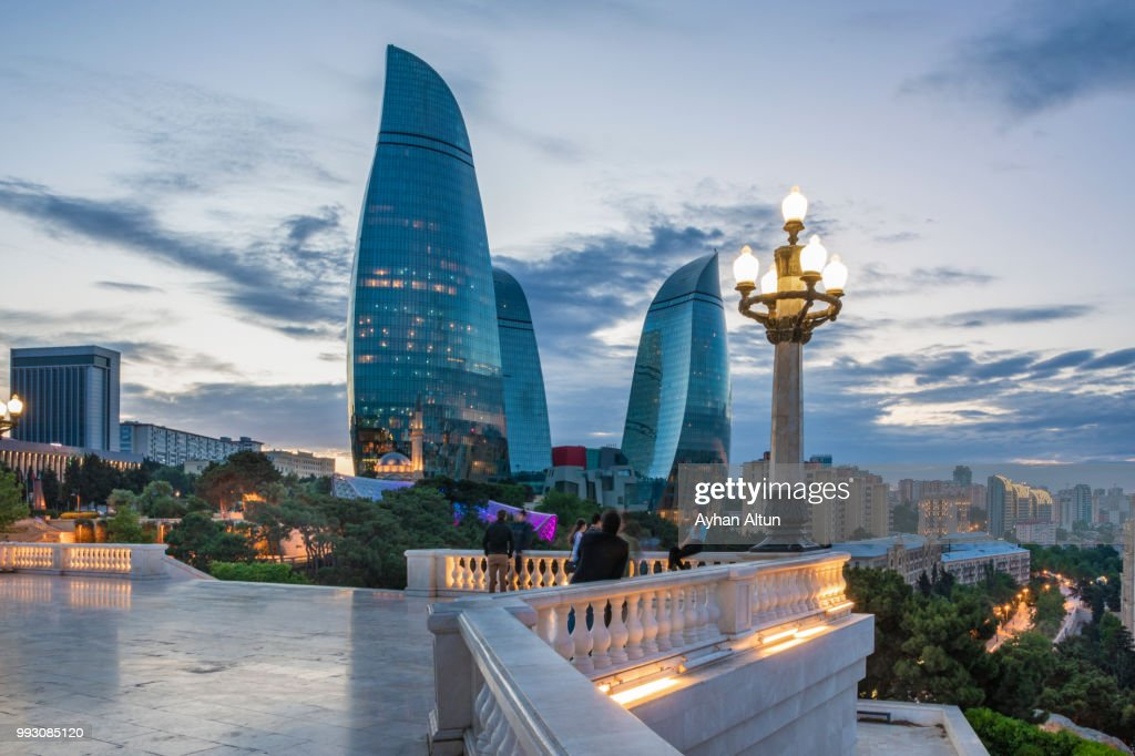 The Flame Towers at night seen from the Dagustu Park in Baku,Azerbaijan : Stock Photo