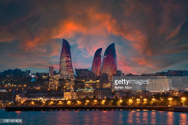 the flame towers in baku, azerbaijan - baku stock pictures, royalty-free photos & images