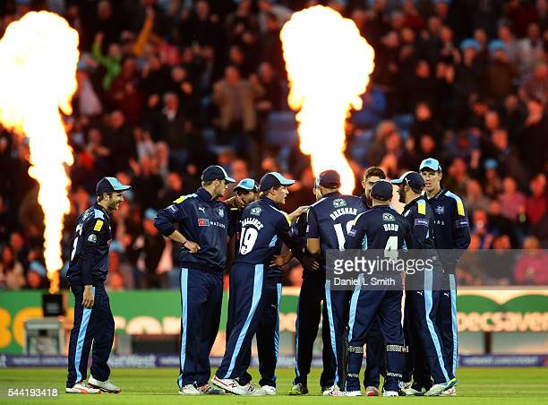 The flames go off as Yorkshire Vikings celebrate the dismissal of Arron Lilley of Lancashire Lightning during the NatWest T20 Blast match between...