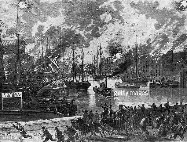 The flames spread across the Chicago River, fuelled by the closely-packed wooden ships, during the Great Chicago Fire of October 1871.