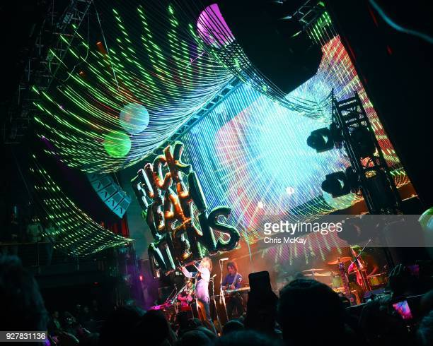 The Flaming Lips greet the Athens Georgia crowd with a welcome sign at The Georgia Theatre on March 5 2018 in Athens Georgia