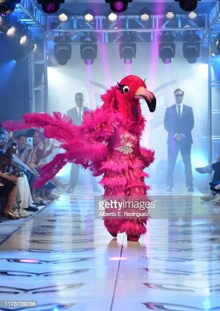 The Flamingo participates in a runway show for the premiere of Fox's The Masked Singer Season 2 at The Bazaar at the SLS Hotel Beverly Hills on...