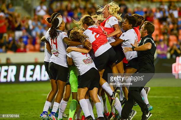 The Flash celebrate their OT win following the 2016 NWSL Championship soccer match between WNY Flash and Washington Spirit at BBVA Compass Stadium in...