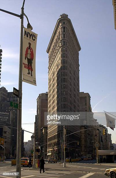 The Flat Iron Building in New York City USA America The first to be made with a steel frame it was completed in 1902 and is the oldest surviving...
