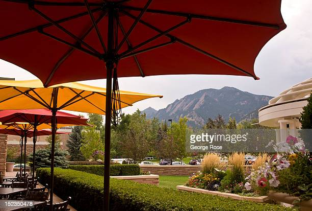 The Flatiron rock formations are viewed from the St Julien luxury downtown hotel on September 25 in Boulder Colorado Boulder home to the University...