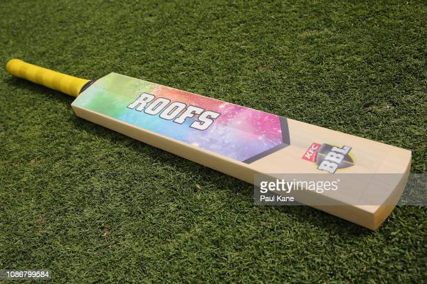 The Flats / Roofs toss bat is seen before the Big Bash League match between the Perth Scorchers and the Adelaide Strikers at Optus Stadium on...