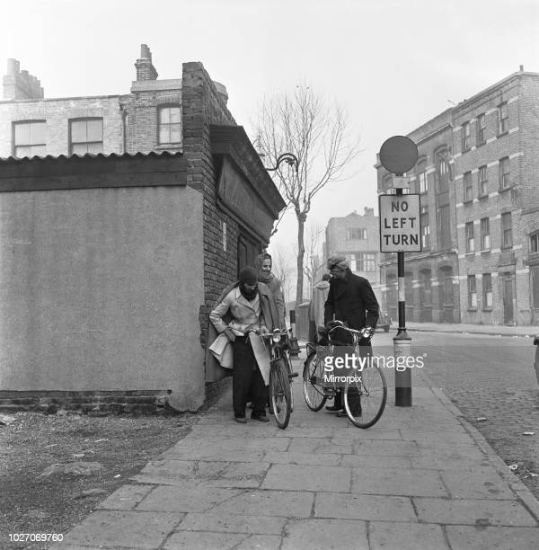 The flea market at Club Row Bethnal Green E1 London 1st March 1955 Immigrants from the Indian sub continent wrapped up against the cold