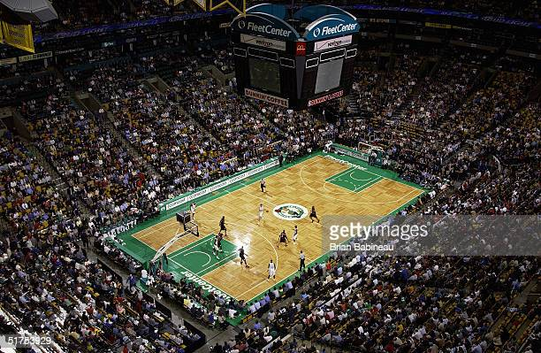The Fleet Center hosts the Boston Celtics season opener against the Philadelphia 76ers on November 3 2004 in Boston Massachusetts The Sixers won 9895...