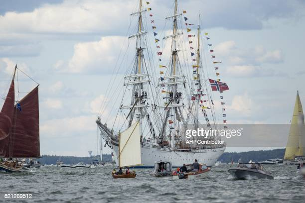 The fleet for the The Tall Ships Races event sails in Turku Finland on July 23 2017 as the ships head to Klaipeda Lithuania / AFP PHOTO / Lehtikuva /...