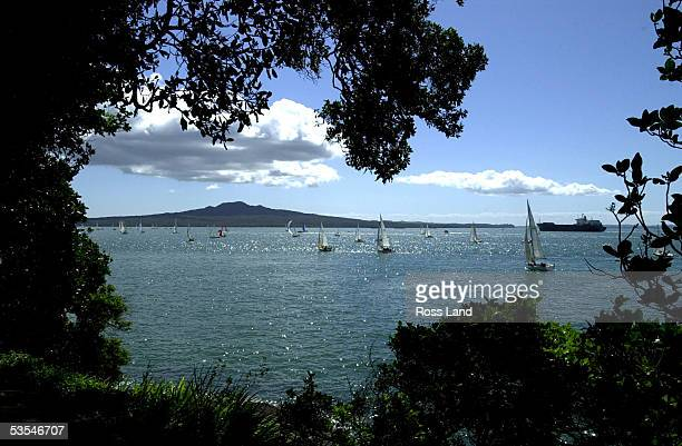 The fleet in the Lindau Coastal Classic yacht race from Auckland to Paihia head up the coast past Rangitoto Island on the Waitemata Harbour