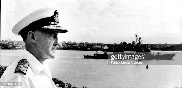 The Fleet Leaves Port Admiral Hudson off the point at garden ISL Salutes the ships leaving March 19 1982