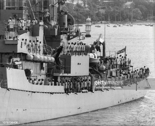 The Fleet Leaves PortAdmiral Hudson off the point at garden Isl Salutes the ships leaving March 19 1982