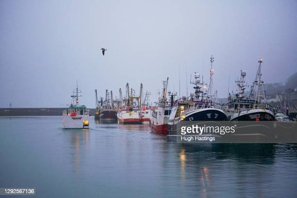 The fleet of fishing trawlers in the early morning at the Newlyn Fish Market on December 22, 2020 in Newlyn, England. The post-Brexit EU/UK trade...