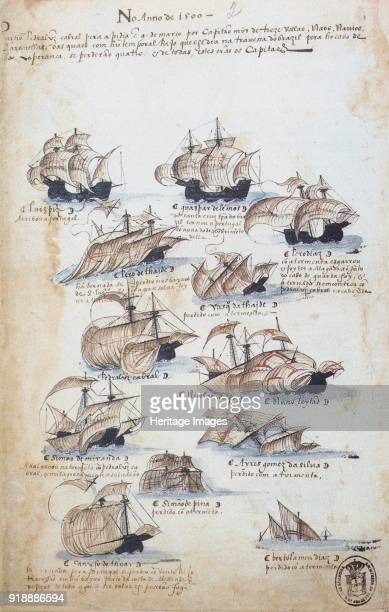 The fleet of Pedro Álvares Cabral in 1500 From Livro das Armadas ca 1568 Found in the collection of Academia das Ciências de Lisboa