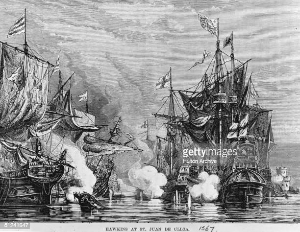 1567 The fleet of Sir Francis Drake and Sir John Hawkins was moored at San Juan de Ulloa in Mexico during a trading expedition when the Spanish...