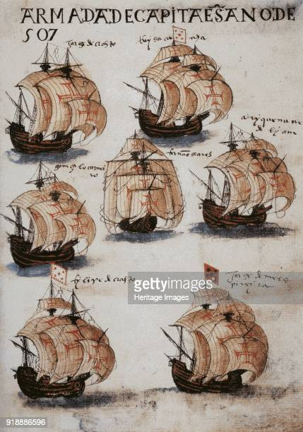 The fleet of Vasco da Gama in 1502 From Livro de Lisuarte de Abreu c 1565 Found in the collection of Pierpont Morgan Library