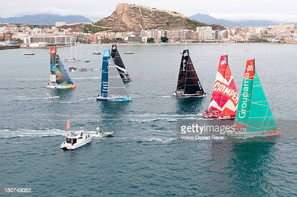 The fleet of Volvo Open 70's start the Iberdrola InPort Race the opening race of The Volvo Ocean Race 201112 on October 29 in Alicante Spain