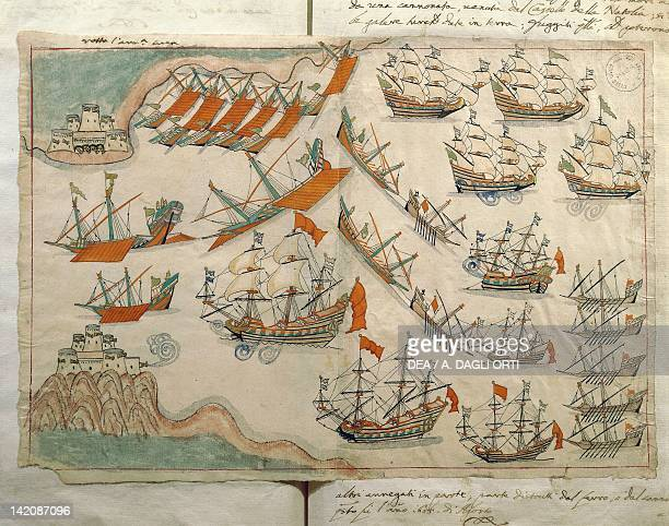 The fleet passing the Dardanelles miniature from Turkish Memories Arabic manuscript Cicogna Codex Turkey 17th Century