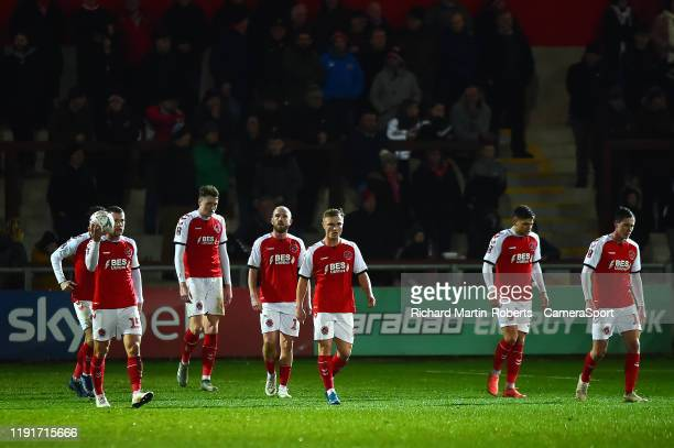 The Fleetwood Town players react after Portsmouths second goal during the FA Cup Third Round match between Fleetwood Town and Portsmouth at Highbury...