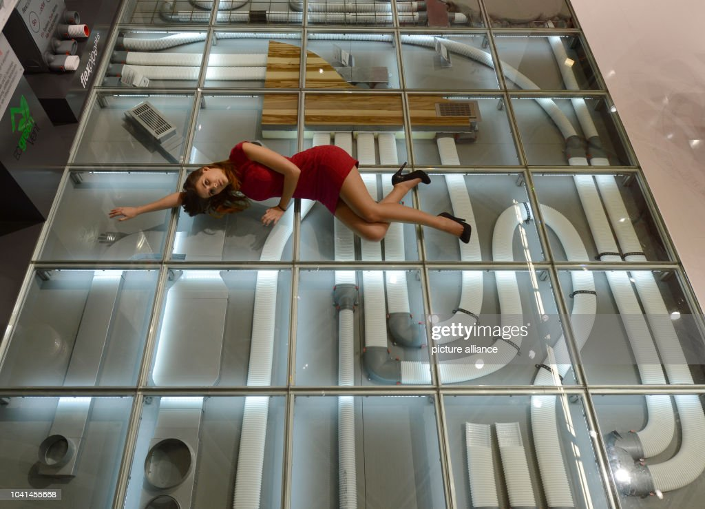 The Flexipipe Plus Ventilation System With Heat Recovery Is Display Under A Glass Floor