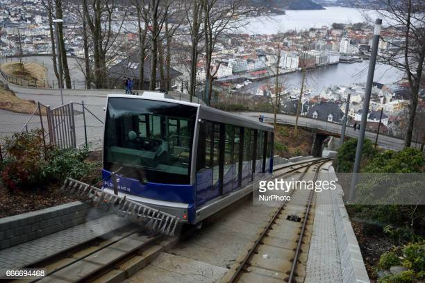 The Flibanen Funicular goes up Flyen Mountain for panoramic views and hiking trails on March 05 2017 Bergen is a city on Norways southwestern coast...