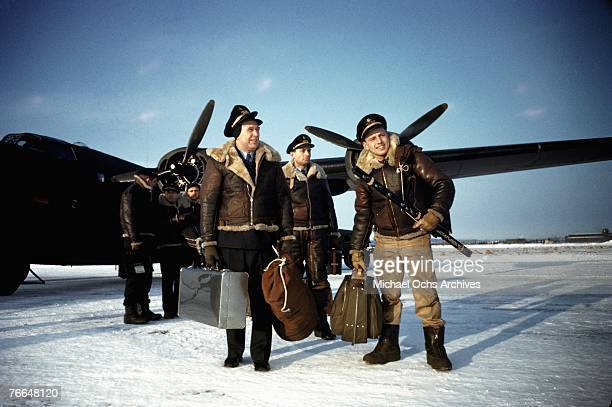 The flight crew of a B24 Liberator arrive at a United States Army Air Force base in December 1942 in Goose Bay Labrador Canada