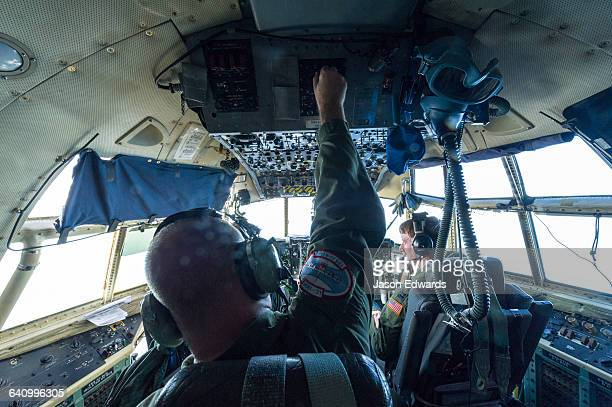 The flight crew of a US Air force Hercules flying to New Zealand from Antarctica.