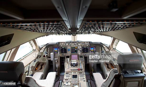 The flight deck of Boeing 7478 Intercontinental airliner that was delivered launch partner Lufthansa at the Boeing factory at Paine Field Airport May...