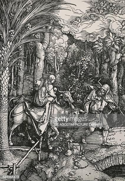 The Flight into Egypt Albrecht Durer engraving Germany 16th century Monaco Bayerische Staatsbibliotek
