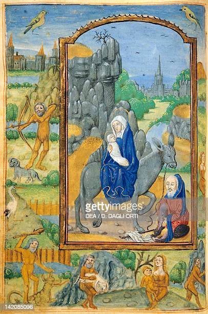 The Flight into Egypt miniature from a Latin Book of Hours manuscript C 1761 folio 90 verso The Netherlands beginning 16th Century