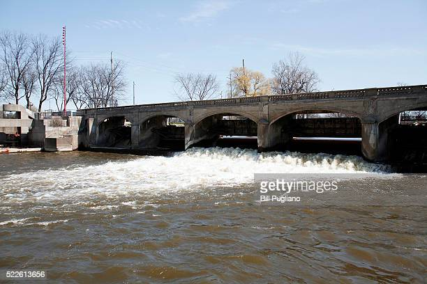 The Flint River is shown in downtown Flint April 20 2016 in Flint Michigan Today Attorney General Bill Schuette announced that he filed 13 felony...