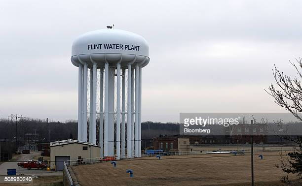 The Flint water plant stands in Flint Michigan US on Friday Feb 7 2016 Hillary Clinton former Secretary of State and 2016 Democratic presidential...