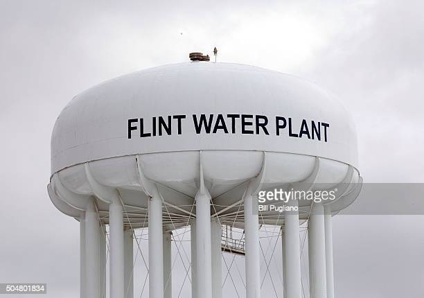 The Flint Water Plant tower is shown January 13 2016 in Flint Michigan On Tuesday Michigan Gov Rick Snyder activated the National Guard to help the...