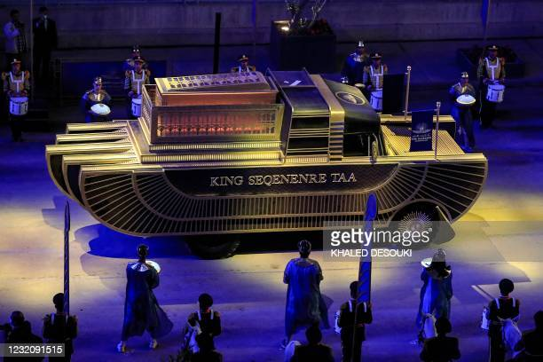 The float carrying the mummy of Pharaoh Seqenenre Tao II advances as part of the parade of 22 ancient Egyptian royal mummies departing from the...