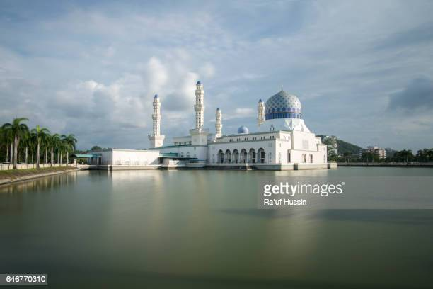 The floating City Mosque, also known as Likas Mosque at Kota Kinabalu, Sabah Borneo, Malaysia