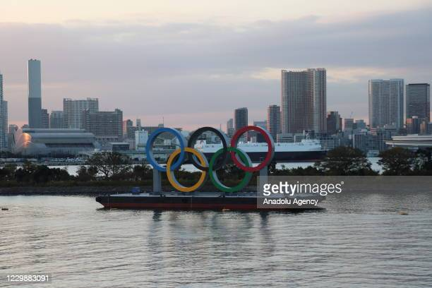 The floating monument, consisting of the Olympic rings, placed in Tokyo Gulf, as a symbol of the 2020 Tokyo Olympics and Paralympic Games, in Tokyo,...