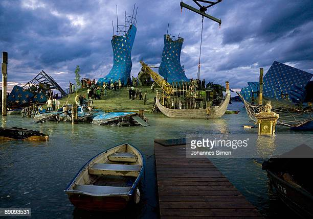 The floating stage built as an artificial island of Lake Constance is seen prior to the rehearsal of Giuseppe Verdi's opera 'Aida' on July 18 2009 in...