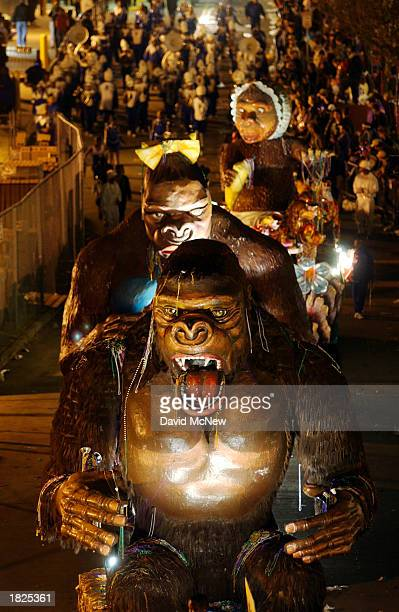 The floats of King Kong, Queen Kong and Baby Kong move along the Bacchus parade, as Mardi Gras goers countdown to Fat Tuesday on March 2, 2003 in New...