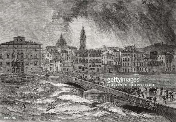 The flood of the Arno river November 6 Florence Italy illustration from the magazine The Illustrated London News volume XLV December 10 1864