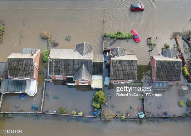 The flood water at Fishlake, in Doncaster, South Yorkshire, as parts of England endured a month's worth of rain in 24 hours, with scores of people...