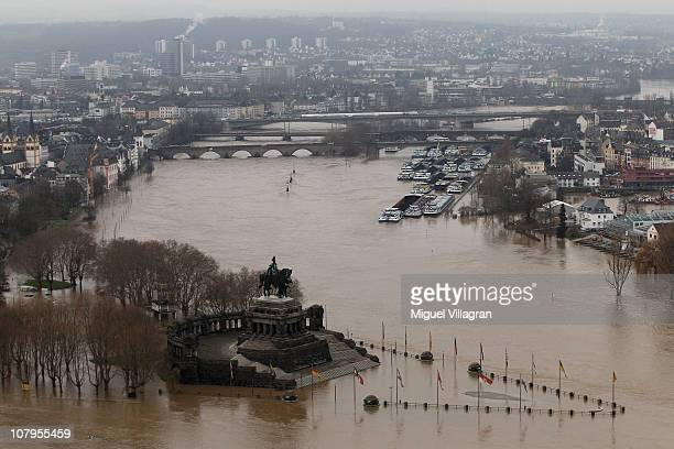 The flooded Deutsches Eck , the headland in Koblenz where the Mosel joins the Rhine, is pictured on January 10, 2011 in Koblenz, Germany. Rivers...