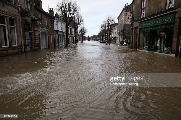 The flooded High St of Cockermouth on November 20 2009 in Keswick United Kingdom A major rescue operation is underway after severe weather conditions...
