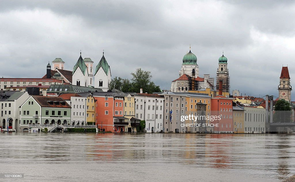 The flooded river Danube can be seen in Passau, southern Germany on June 3, 2010. After heavy rainfalls, many streets are flooded near the banks of the rivers Danube and Inn, which confluence in Passau.
