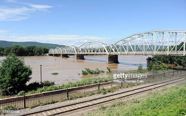 The flooded Susquehanna River has caused the Pittston Bridge to remain closed indefinitely September 10 2011 in Pittston Pennsylvania Major flooding...