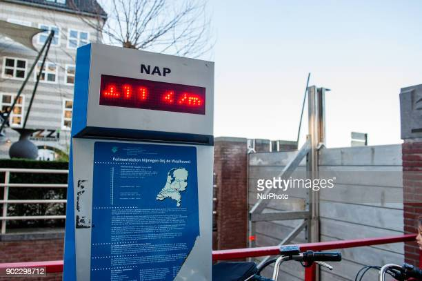 The floodgates at the Waalkade have been closed An informative panel marks the NAP the base used to measure how high or low water levels are in...