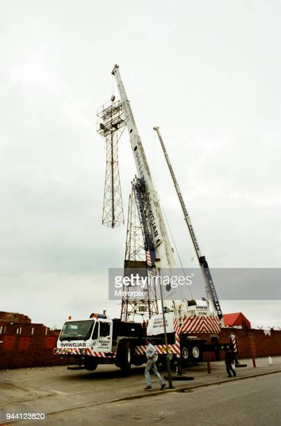 The floodlight is taken down at Ayresome Park the home of Middlesbrough FC following the clubs move to their new stadium 11th October 1996