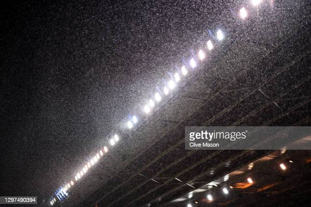 The floodlights are seen as the rain falls during the Sky Bet Championship match between Birmingham City and Preston North End at St Andrew's...