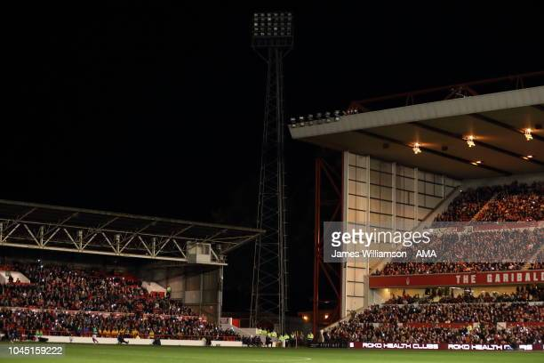 The floodlights fail at the City Ground home stadium of Nottingham Forest during the Sky Bet Championship fixture between Nottingham Forest and...